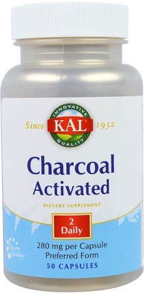 Charcoal Activated, 280 mg, 50 Capsules by KAL, 補品,礦物質,活性炭 HK 香港