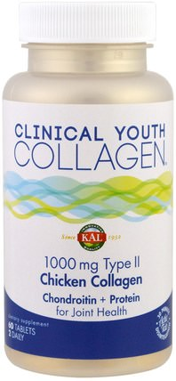 Clinical Youth Collagen, Chicken Collagen, Type II, 1000 mg, 60 Tablets by KAL, 健康,骨骼,骨質疏鬆症,膠原蛋白 HK 香港