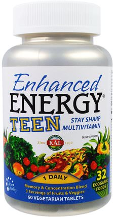 Enhanced Energy, Teen, Memory & Concentration Blend, 60 Veggie Tabs by KAL, 健康,注意力缺陷障礙,添加,adhd,大腦,記憶,大腦和認知功能 HK 香港