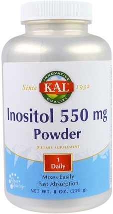 KAL, Inositol 550 mg Powder, 8 oz (228 g) 維生素,肌醇