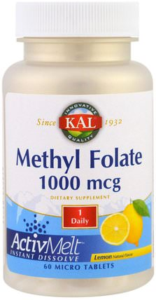 Methyl Folate, Lemon, 1000 mcg, 60 Micro Tablets by KAL, 維生素,葉酸,5-mthf葉酸(5甲基四氫葉酸) HK 香港