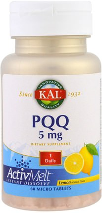 PQQ, Lemon, 5 mg, 60 Micro Tablets by KAL, 補充劑,抗氧化劑,pqq(biopqq),抗衰老 HK 香港