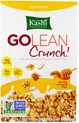 GoLean Crunch! Honey Almond Flax Cereal, 14 oz (397 g) by Kashi, 食物,食物,穀物 HK 香港