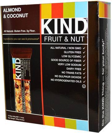 Fruit & Nut Bars, Almond & Coconut, 12 Bars, 1.4 oz (40 g) Each by KIND Bars, 補充劑,營養棒 HK 香港