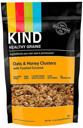 Healthy Grains, Oats & Honey Clusters with Toasted Coconut, 11 oz (312 g) by KIND Bars, 食品,堅果種子穀物,食品,穀物 HK 香港