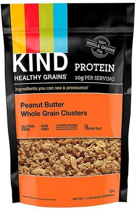Healthy Grains, Peanut Butter Whole Grain Clusters, 11 oz (312 g) by KIND Bars, 食品,零食,堅果種子 HK 香港