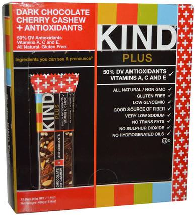 Kind Plus, Dark Chocolate Cherry Cashew + Antioxidants, 12 Bars, 1.4 oz (40 g) Each by KIND Bars, 補充劑,營養棒 HK 香港
