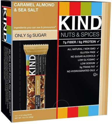 Nuts & Spices, Caramel Almond & Sea Salt, 12 Bars, 1.4 oz (40 g) Each by KIND Bars, 補充劑,營養棒 HK 香港