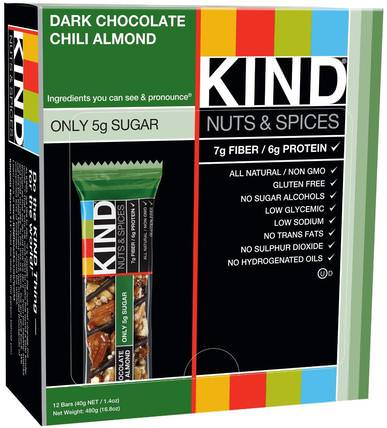 Nuts & Spices, Dark Chocolate Chili Almond, 12 Bars, 1.4 oz (40 g) Each by KIND Bars, 補充劑,營養棒 HK 香港