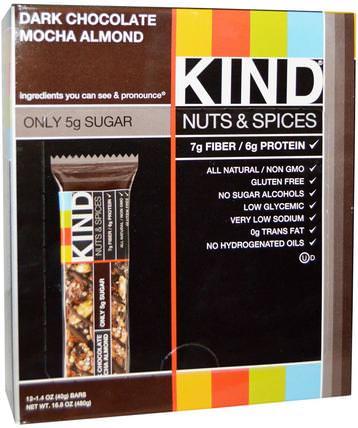 Nuts & Spices, Dark Chocolate Mocha Almond, 12 Bars, 1.4 oz (40 g) Each by KIND Bars, 補充劑,營養棒 HK 香港