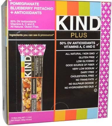 Plus Bars, Pomegranate Blueberry Pistachio + Antioxidants, 12 Bars, 1.4 oz (40 g) Each by KIND Bars, 補充劑,營養棒 HK 香港