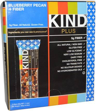 Plus, Blueberry Pecan + Fiber, 12 Bars, 1.4 oz (40 g) Each by KIND Bars, 補充劑,營養棒 HK 香港