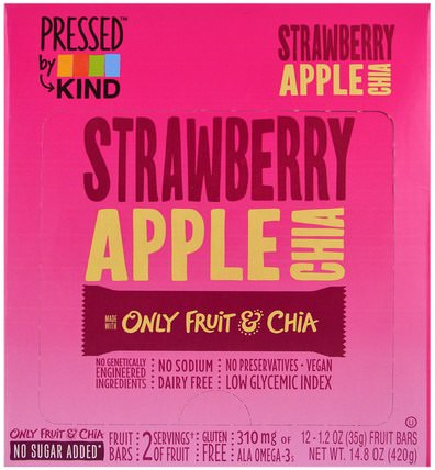 Pressed by KIND, Strawberry Apple Chia, 12 Fruit Bars, 1.2 oz (35 g) Each by KIND Bars, 食物,零食,健康零食 HK 香港