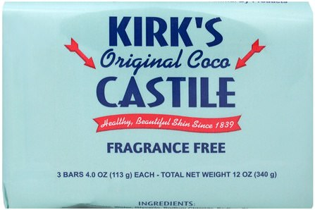 Original Coco Castile Bar Soap, Fragrance Free, 3 Bars, 4.0 oz (113 g) Each by Kirks, 洗澡,美容,肥皂,卡斯蒂利亞肥皂 HK 香港