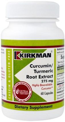 Kirkman Labs, Curcumin/Turmeric Root Extract, 275 mg, 60 Capsules 補充劑,抗氧化劑,薑黃素,薑黃