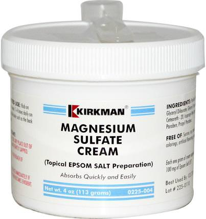 Magnesium Sulfate Cream, 4 oz (113 g) by Kirkman Labs, 健康,抗疼 HK 香港