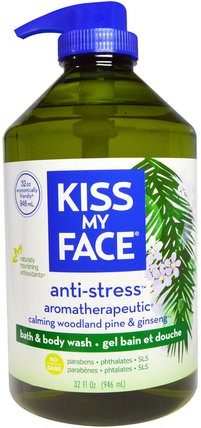 Anti-Stress, Bath & Body Wash, Calming Woodland Pine & Ginseng, 32 fl oz (946 ml) by Kiss My Face, 沐浴,美容,沐浴露,身體護理 HK 香港