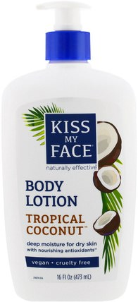 Body Lotion, Vegan, Tropical Coconut, 16 fl oz (473 ml) by Kiss My Face, 洗澡,美容,潤膚露,身體護理 HK 香港