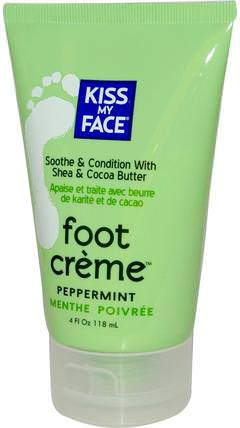 Foot Creme, Peppermint, 4 fl oz (118 ml) by Kiss My Face, 洗澡,美容,霜足,身體護理 HK 香港