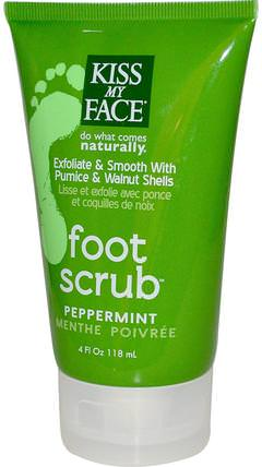 Foot Scrub, Peppermint, 4 fl oz (118 ml) by Kiss My Face, 洗澡,美容,腳部護理,身體護理 HK 香港