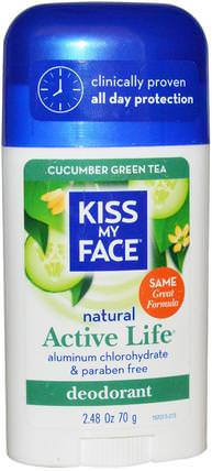 Natural Active Life Deodorant, Cucumber Green Tea, 2.48 oz (70 g) by Kiss My Face, 洗澡,美容,除臭劑 HK 香港