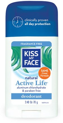 Natural Active Life Deodorant, Fragrance Free, 2.48 oz (70 g) by Kiss My Face, 洗澡,美容,除臭劑,身體護理 HK 香港