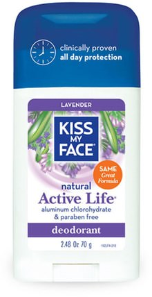 Natural Active Life Deodorant, Lavender, 2.48 oz (70 g) by Kiss My Face, 洗澡,美容,除臭劑,身體護理 HK 香港