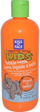 Obsessively Natural Kids, Bubble Wash, Orange U Smart, 12 fl oz (354 ml) by Kiss My Face, 洗澡,美容,沐浴露,泡泡浴 HK 香港