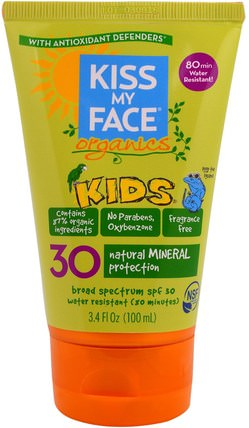 Organics, Kids, Face & Body Mineral Sunscreen, SPF 30, 3.4 fl oz (100 ml) by Kiss My Face, 洗澡,美容,防曬霜,spf 30-45,兒童和嬰兒防曬霜 HK 香港