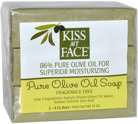 Pure Olive Oil Soap, Fragrance Free, 3 Bars, 4 oz Each by Kiss My Face, 洗澡,美容,肥皂 HK 香港