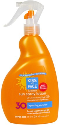 Sunscreen, Sun Spray Lotion 30, 14 fl oz (414 ml) by Kiss My Face, 洗澡,美容,防曬霜,spf 30-45,兒童和嬰兒防曬霜 HK 香港