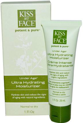Under Age, Ultra Hydrating Moisturizer, 1 fl oz (29 ml) by Kiss My Face, 美容,面部護理,面霜乳液,精華素,皮膚類型正常至乾性皮膚 HK 香港