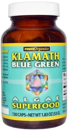 Power Organics, Algae Superfood, Klamath Blue Green, 130 Capsules by Klamath, 補品,超級食品,藍綠藻 HK 香港