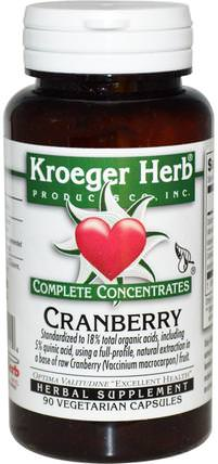 Complete Concentrates, Cranberry, 90 Veggie Caps by Kroeger Herb Co, 草藥,酸果蔓汁提取物 HK 香港