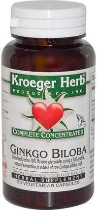 Complete Concentrates, Ginkgo Biloba, 90 Veggie Caps by Kroeger Herb Co, 健康,注意力缺陷障礙,添加,adhd,大腦,記憶,草藥,銀杏葉 HK 香港