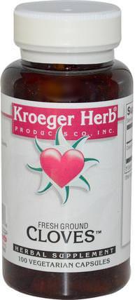 Fresh Ground Cloves, 100 Veggie Caps by Kroeger Herb Co, 草藥,丁香 HK 香港