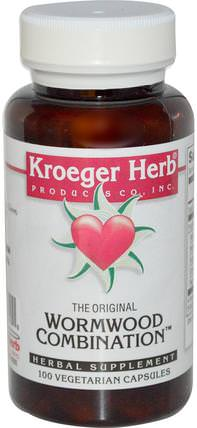 The Original Wormwood Combination, 100 Veggie Caps by Kroeger Herb Co, 草藥,艾蒿 HK 香港