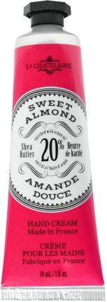 Hand Cream, Sweet Almond, 1 fl oz (30 ml) by La Chatelaine, 洗澡,美容,護手霜 HK 香港