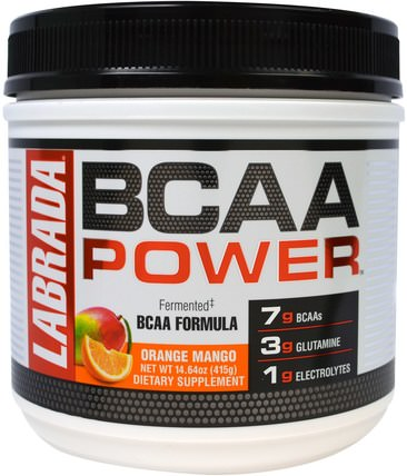 BCAA Power, Orange Mango, 14.64 oz (415 g) by Labrada Nutrition, 補充劑,氨基酸,bcaa(支鏈氨基酸) HK 香港