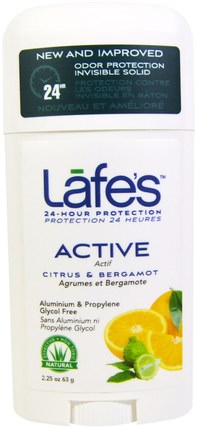 Active, Odor Protection Invisible Solid, Citrus & Bergamot, 2.25 oz (63 g) by Lafes Natural Body Care, 洗澡,美容,除臭劑 HK 香港