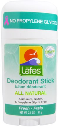 All Natural Deodorant Stick, Fresh, 2.5 oz (71 g) by Lafes Natural Body Care, 洗澡,美容,除臭劑 HK 香港