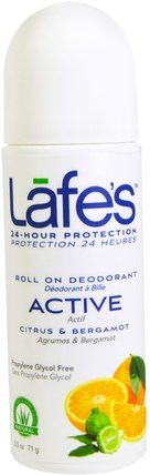 Roll On Deodorant, Active, Ctirus & Bergamot, 2.5 oz (71 g) by Lafes Natural Body Care, 沐浴,美容,除臭劑,滾裝除臭劑 HK 香港