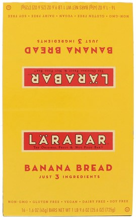 Larabar, Banana Bread, 16 Bars, 1.6 oz (45 g) Each larabar,食物,健康零食