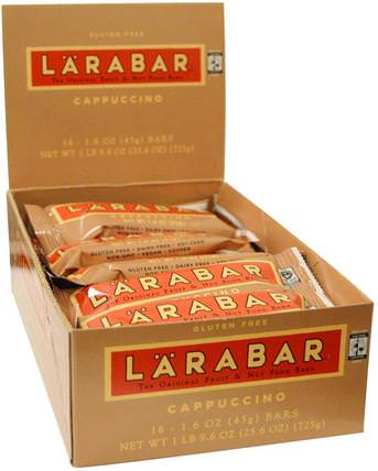 Cappuccino, 16 Bars, 1.6 oz (45 g) Each by Larabar, larabar,食物,健康零食,營養棒 HK 香港