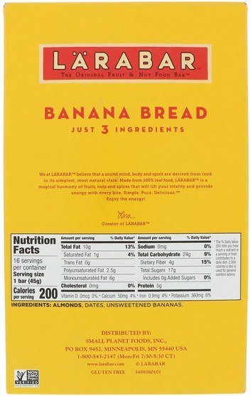 larabar,食物,健康零食 - Larabar, Banana Bread, 16 Bars, 1.6 oz (45 g) Each