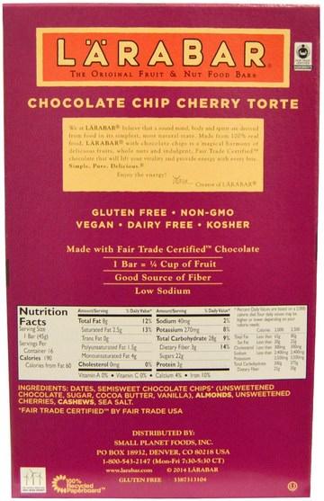 larabar,食物,健康零食,營養棒 - Larabar, Chocolate Chip Cherry Torte, 16 Bars, 1.6 oz (45 g) Each
