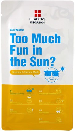 Too Much Fun in the Sun?, Soothing & Calming Mask, 1 Mask, 0.84 fl oz (25 ml) by Leaders, 美容,面膜,面膜 HK 香港