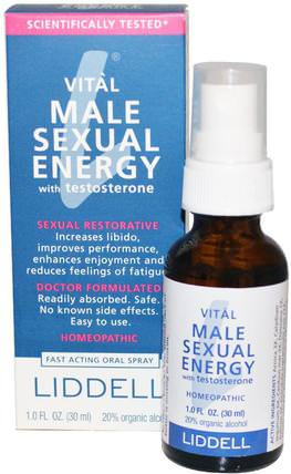 Vital Male Sexual Energy with Testosterone, 1.0 fl oz (30 ml) by Liddell, 健康,男性,睾丸激素凝膠和麵霜,睾丸激素 HK 香港