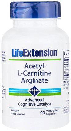 Acetyl-L-Carnitine Arginate, 90 Veggie Caps by Life Extension, 補充劑,氨基酸,左旋肉鹼,乙酰左旋肉鹼 HK 香港