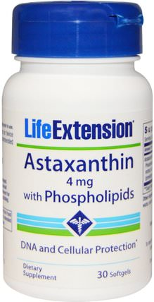 Astaxanthin, with Phospholipids, 4 mg, 30 Softgels by Life Extension, 補充劑,抗氧化劑,蝦青素 HK 香港